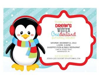Winter ONEderland PRINTED Birthday Invitation
