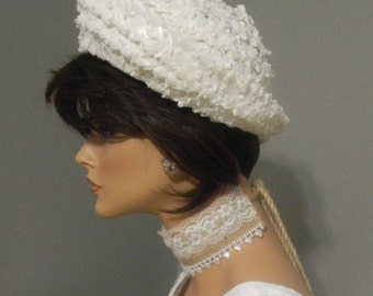 Mid-Century White Woven Fabricated Straw Hat - Union Made