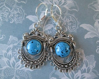 Dangle Chandelier Earrings - Silver Toned with Black Speckled Faux Turquoise Beads - Jewelry by ZARDENIA