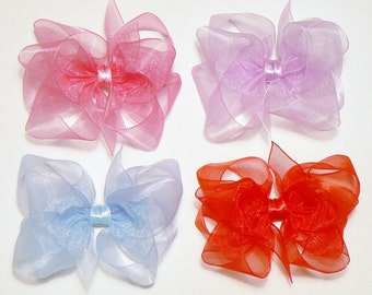 Girls Hair Bow Set Toddler Childrens Kids Boutique Dress Fashion Small Organza Sheer Hair Clip Hairbows (Set of 4) Choose Colors