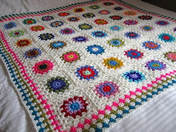 The Sunroom UK: Crochet Afghan Blanket Granny Squares 50
