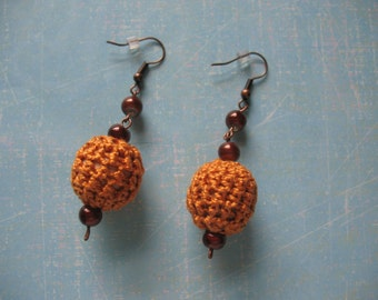 Earthy Color Crocheted Bead Earrings