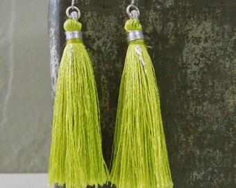 Green Tassel Earrings - Light Green Tassel Pendant Earrings Silver Fish Hook Earwires
