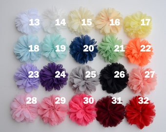 12 chiffon flowers with scalloped edges, Your Choice