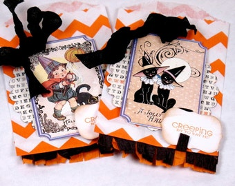 Halloween Open if you Dare Shabby Chic Treat Bags