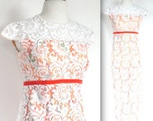 Vintage 1960s Dress // 60s Orange Floral Print and White Lace Party Prom Dress // 60s Bride
