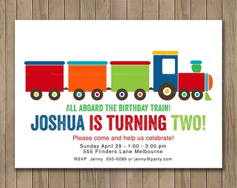 Train Birthday Invitation, Building Blocks,  Choo Choo Birthday Invite, Printable Digital, 1st, 2nd, 3rd, 4th, 5th Birthday 1402