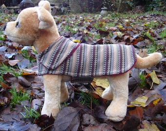 Tan Gray and Burgundy Knit Fabric Dog Coat- Size XX Small 8-10 Inch Back Length
