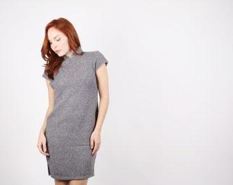 60s Gray Wool Asian Dress  - 60s Cheongsam  -  The Dusk Dress  - 5238