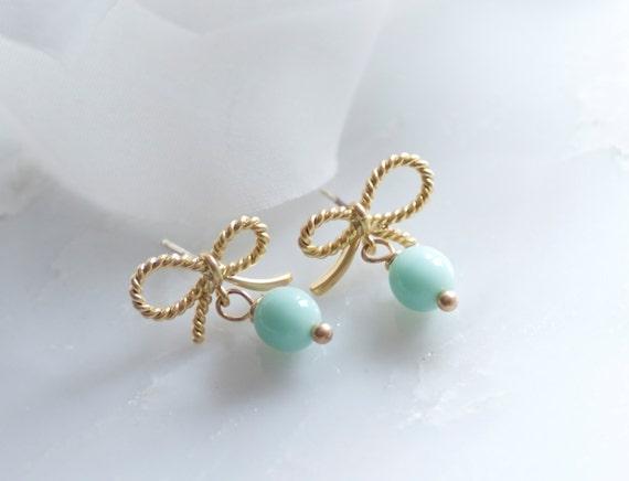 Gold bow post earrings, Mint post earrings