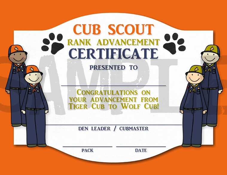 Tiger Cub Scout Certificates | just b.CAUSE