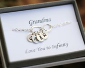 Grandmother gift,Sister bracelet, Personalized bracelet, Sterling Silver Infinity Bracelet, Family Initials,Infinity Jewelry
