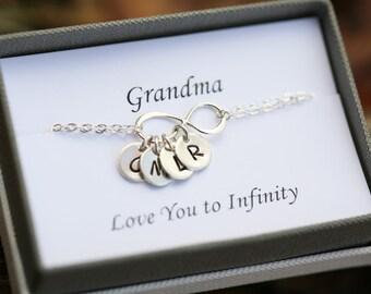 Grandmother gift,Sister bracelet, Personalized bracelet, Sterling Silver Infinity Bracelet, Family Initials,Infinity Jewelry
