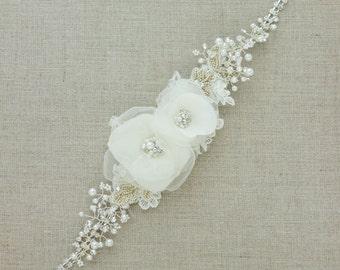 Wedding sash Bridal sash Vine Bridal sashes Wedding dress belt  Rhinestone sash Ivory Floral belt sash Lace sash  narrow thin flower