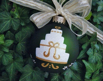 Wedding Cake, Personalized Ornament - Just Married - Hand Painted Ornament, Christmas ornament