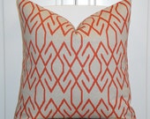 Decorative Pillow Cover  - Lacefield In Orange and Oatmeal - Trellis Pillow - Lattice - Geometric - Sofa Pillow
