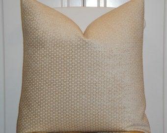 Decorative Pillow Cover - Chenille Accent - Lattice - Beige/Tan - Sofa Pillow