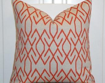Decorative Pillow Cover  - Lacefield In Orange and Oatmeal - Trellis Pillow - Lattice - Geometric - Sofa Pillow