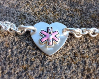 Thick Sterling Link Medical Alert Bracelet - Feminine and Strong - optional enamel colors