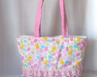 Easter Basket, Easter Tote Bag with Easter Egg & Baby Chicks print Adorable!