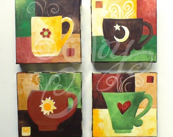 Home and Office Wall Art, THE LOVE of COFFEE No. 3, Set of 4 6x6 acrylic canvases