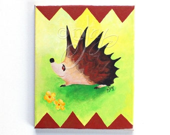Painting for Kids Room, Hedgehog With Triangle Border, 8x10 Acrylic woodland animal art, Children's Room Decor