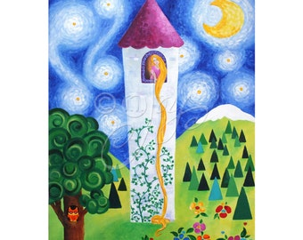 Rapunzels Tower, Art Print for Girls Room, 16x20, Childrens Decor, Princess Theme
