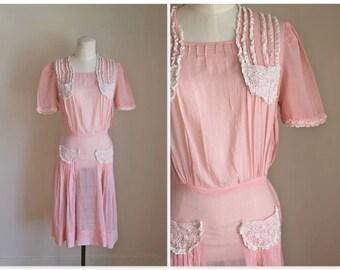 vintage 30s/40s day dress - TEACUP cotton voile pink dress / XS-S