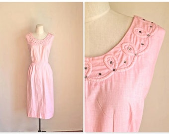 vintage 1940s day dress - LOOPS 40s pink rhinestone dress / S-M