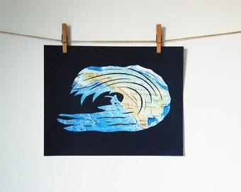 SALE // Surfer Art // Surf's Up Map Artwork - 11x14 // Print from Original Paper Cut