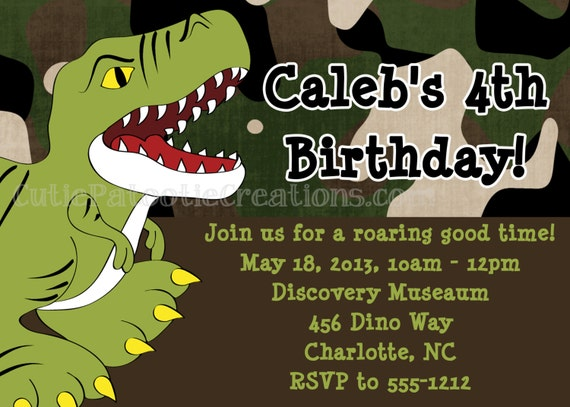 Dinosaur Birthday Invitation, T Rex Dino Party Invite, Printable or Printed