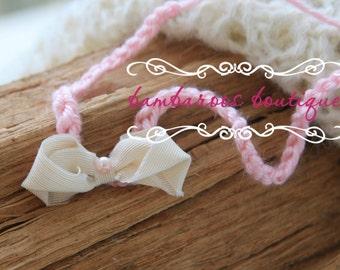 ivory newborn headband, tiny headband, baby headband, dainty headband, petite flower headband