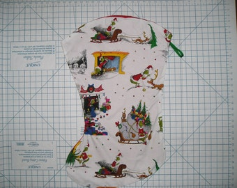 Grinch Fabric Large Christmas Stocking - How the Grinch Stole Christmas Stocking