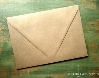 "25 A7 Euro Flap Kraft Envelopes: triangular triangle contour flap, rustic kraft brown envelopes, grocery bag 5 1/4"" x 7 1/4"" (133x184mm)"