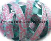 New Wonkie Swirls Glitter Grograin ribbon 5 yards- 3/8 inch Aqua/Hot Pink Sparkle Swirls hair bow craft trim ribbon