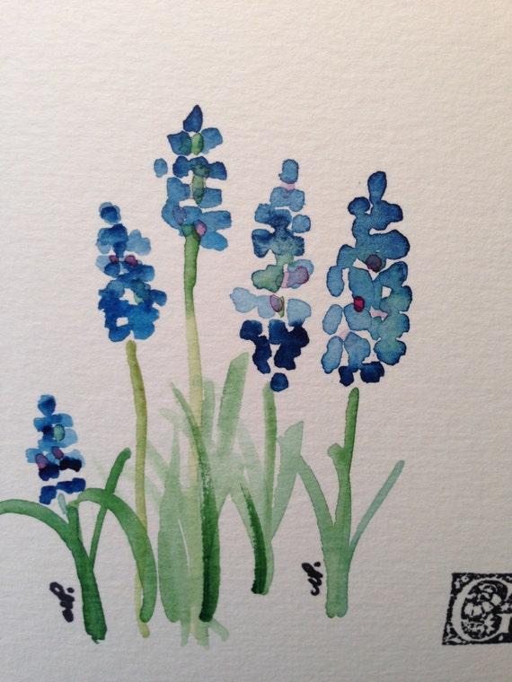 grape hyacinths watercolor card i. Black Bedroom Furniture Sets. Home Design Ideas
