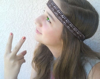 Hippy Headband.  Women, Teens, natural, brown non slip head band, Headband, Hairband.