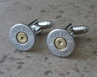Bullet Cufflinks, Winchester 45 Colt Nickel Bullet Casing Cufflink, Two Tone Cufflinks, Wedding Cufflinks, Great Gift item - 399