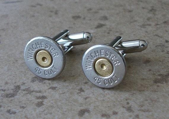 Bullet Cufflinks, Winchester 45 Colt Nickel Bullet Casing Cufflink, Two Tone Cufflinks, Wedding Cufflinks, Great Gift item - 399