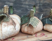 Country Primitive WHITE PUMPKIN bowl fillers fall ornies ... set of 3