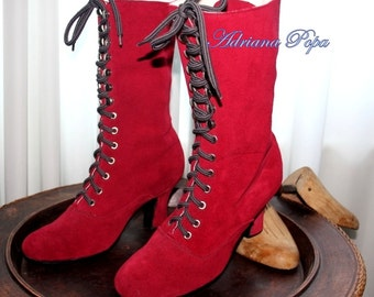 Fiesta RED 2016 Victorian Boots  Bright Red Boots Wedding Red boots Ankle Lace up boots Red suede leather ORDER your customized size