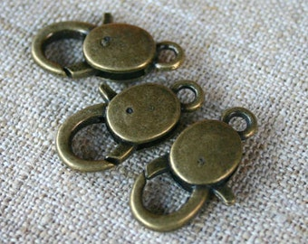 6pcs Clasp Lobster Claw Antiqued Brass Finished Pewter 25x13mm Smooth Design
