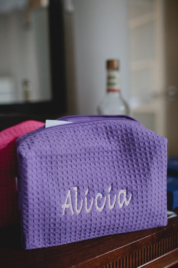 Wedding Gift Personalized Monogrammed Waffle Weave Spa Bags your choice of colors Great gift for your bridesmaids Set of 5
