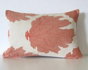 Coral orange sea plant leaf 12x18 lumbar pillow cover