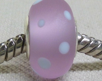 Large Hole Lampwork Bead Silver Cored European Charm Bead Etched Lavender with Light Blue Snow Dots