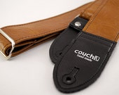 Light Brown 70s Vintage Vinyl Guitar Strap - Looks Like A Thrift Store Leather Jacket