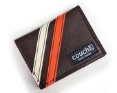 Racing Stripe Slim Card Wallet - Brown With Orange & White Stripes