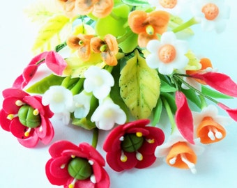 Miniature Polymer Clay Flowers Bouquet Supplies for Dollhouse and Handmade Gifts