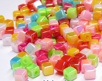 300 Cubic Acrylic Beads. AB Mix Colors.4mm