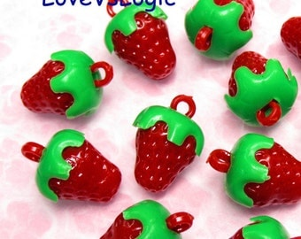 10 Strawberry Opaque Plastic 3D Charms. Red